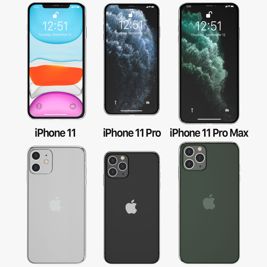 Iphone 11, Iphone 11 Pro, Iphone 11 Pro Max royalty-free 3d model - Preview no. 1