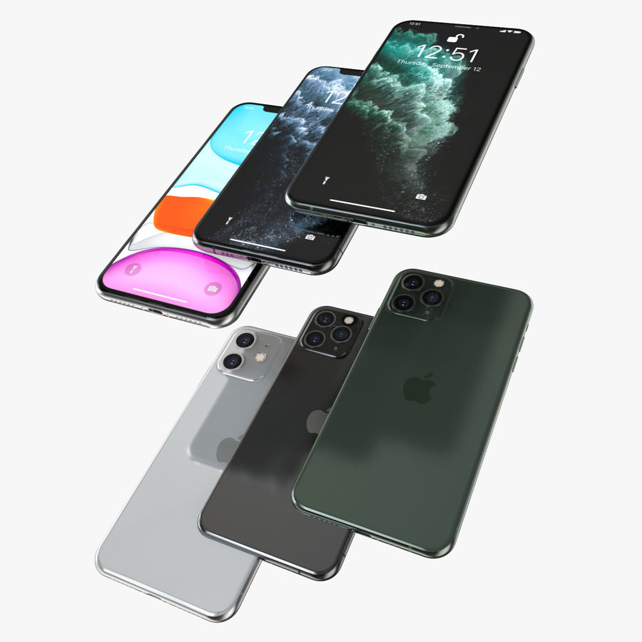 Iphone 11, Iphone 11 Pro, Iphone 11 Pro Max royalty-free 3d model - Preview no. 2