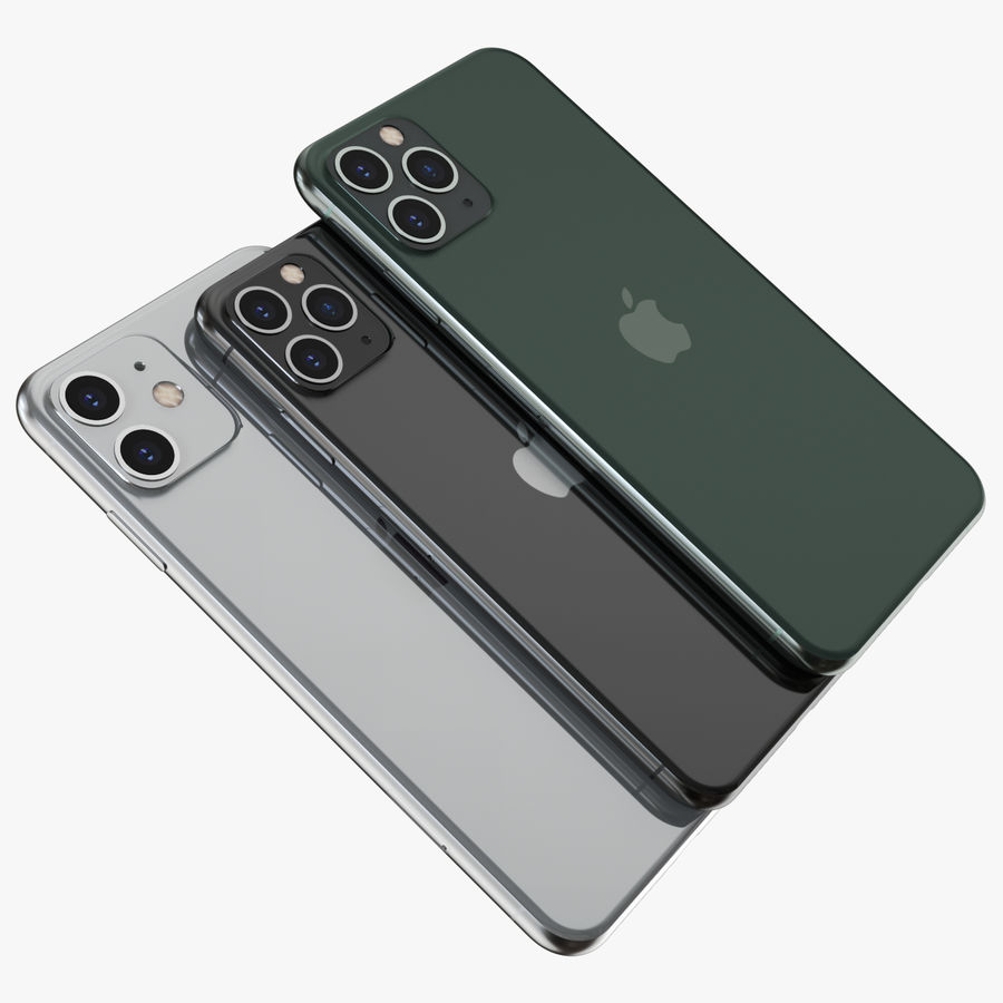Iphone 11, Iphone 11 Pro, Iphone 11 Pro Max royalty-free 3d model - Preview no. 5