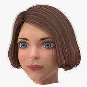 Мультфильм молодая девушка голова 3d model