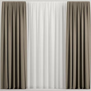 Brown curtains with tulle 3d model