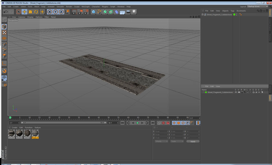 Street Fragment Cobblestone royalty-free 3d model - Preview no. 19