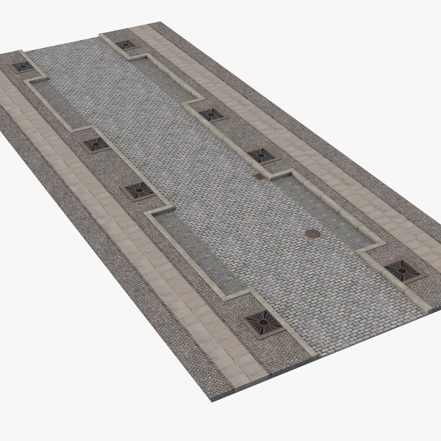 Street Fragment Cobblestone royalty-free 3d model - Preview no. 1