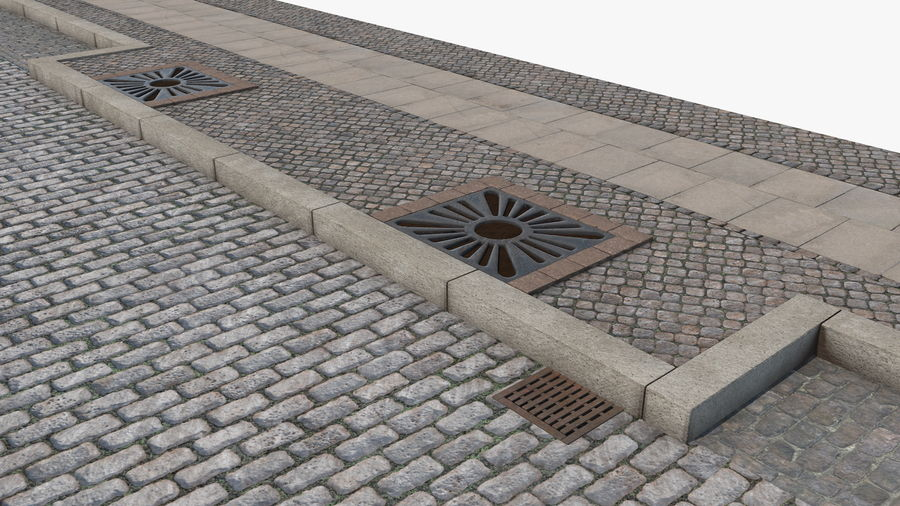 Street Fragment Cobblestone royalty-free 3d model - Preview no. 9
