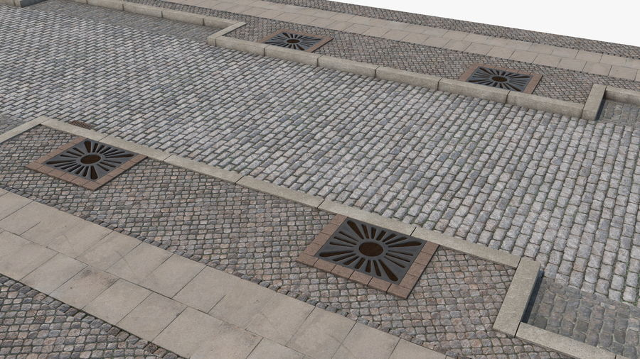 Street Fragment Cobblestone royalty-free 3d model - Preview no. 13