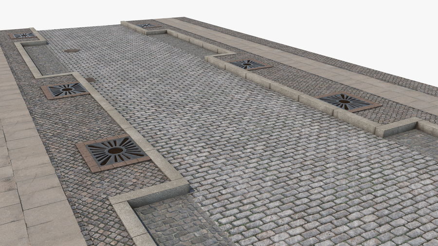 Street Fragment Cobblestone royalty-free 3d model - Preview no. 8