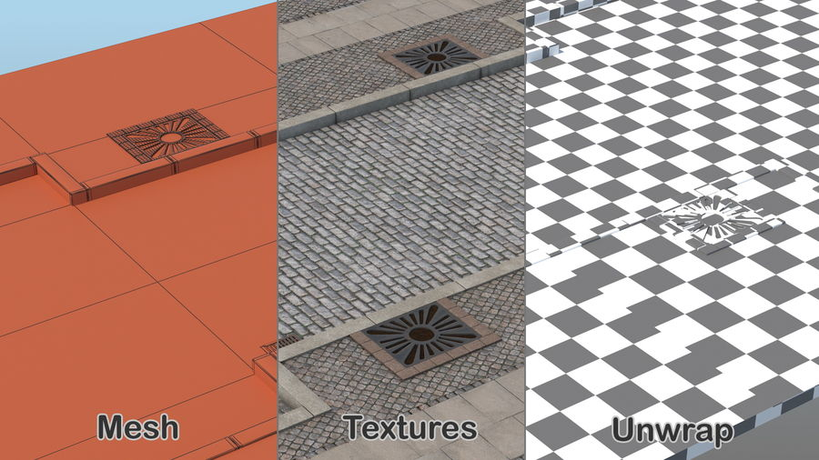 Street Fragment Cobblestone royalty-free 3d model - Preview no. 4