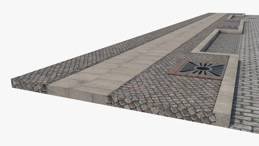 Street Fragment Cobblestone royalty-free 3d model - Preview no. 12