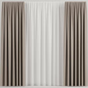 Brown straight curtains with tulle 3d model