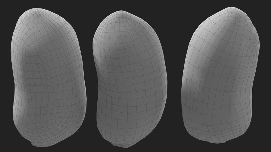 Peanut Seeds Peeled royalty-free 3d model - Preview no. 34