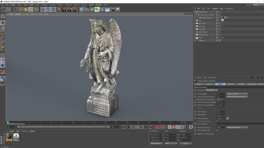 Statua anioła royalty-free 3d model - Preview no. 22