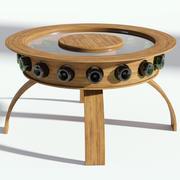 圆形玻璃咖啡桌与瓶 3d model
