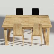 Conjunto de jantar de madeira - mesa e cadeiras 3d model