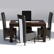 餐桌椅-木桌和皮椅 3d model