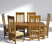 Treserveringsset - Naturligt bord och stolar 3d model