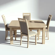 Bright Wooden Dining Set Table with Chairs 3d model