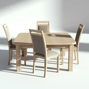 Ljus träbord med stolar 3d model