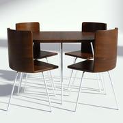 深色木制餐桌椅-桌子和椅子 3d model