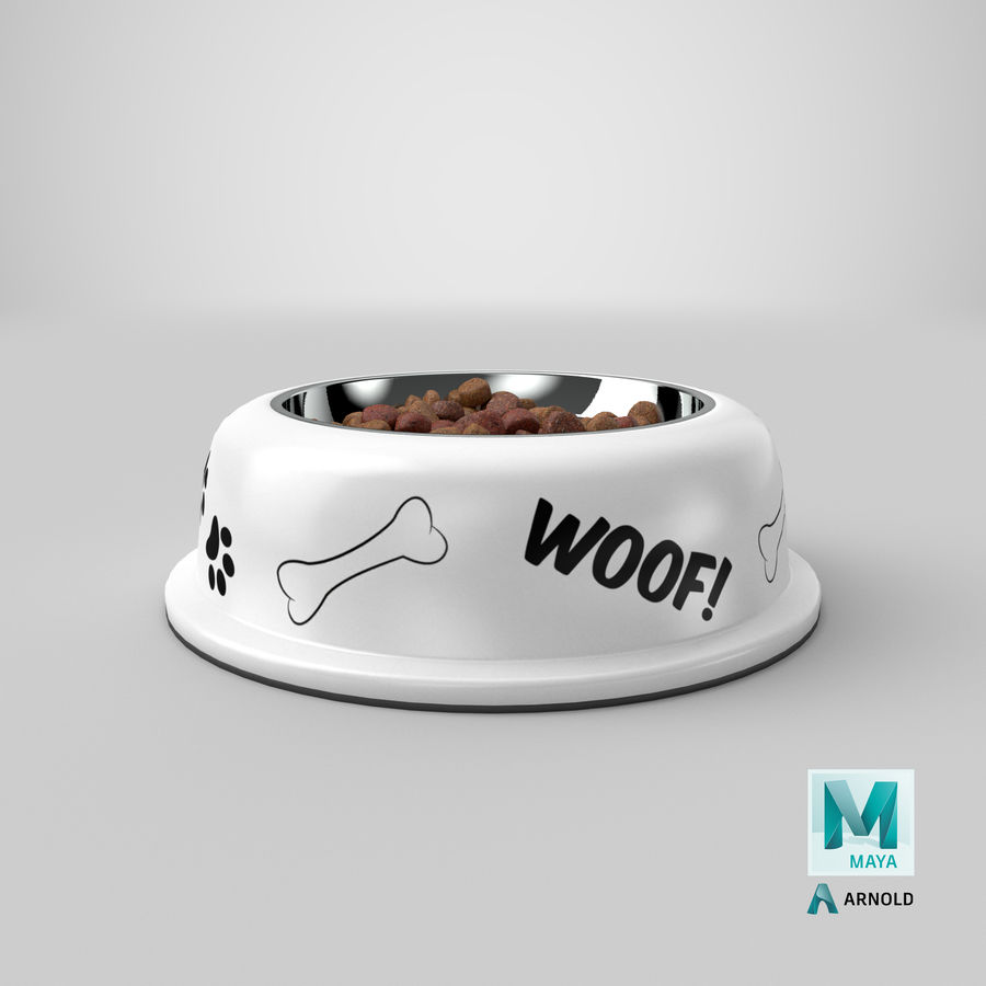 Dog Bowl with Food royalty-free 3d model - Preview no. 34
