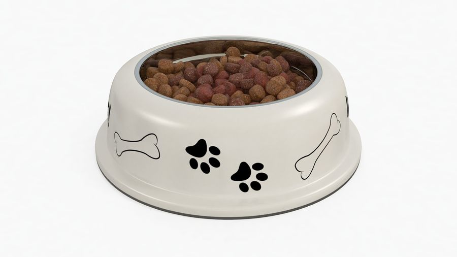 Dog Bowl with Food royalty-free 3d model - Preview no. 2