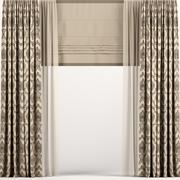 ローマとチュールが付いた真っ直ぐな茶色のカーテン 3d model