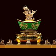 Chinese gold ingot with Fish 3d model