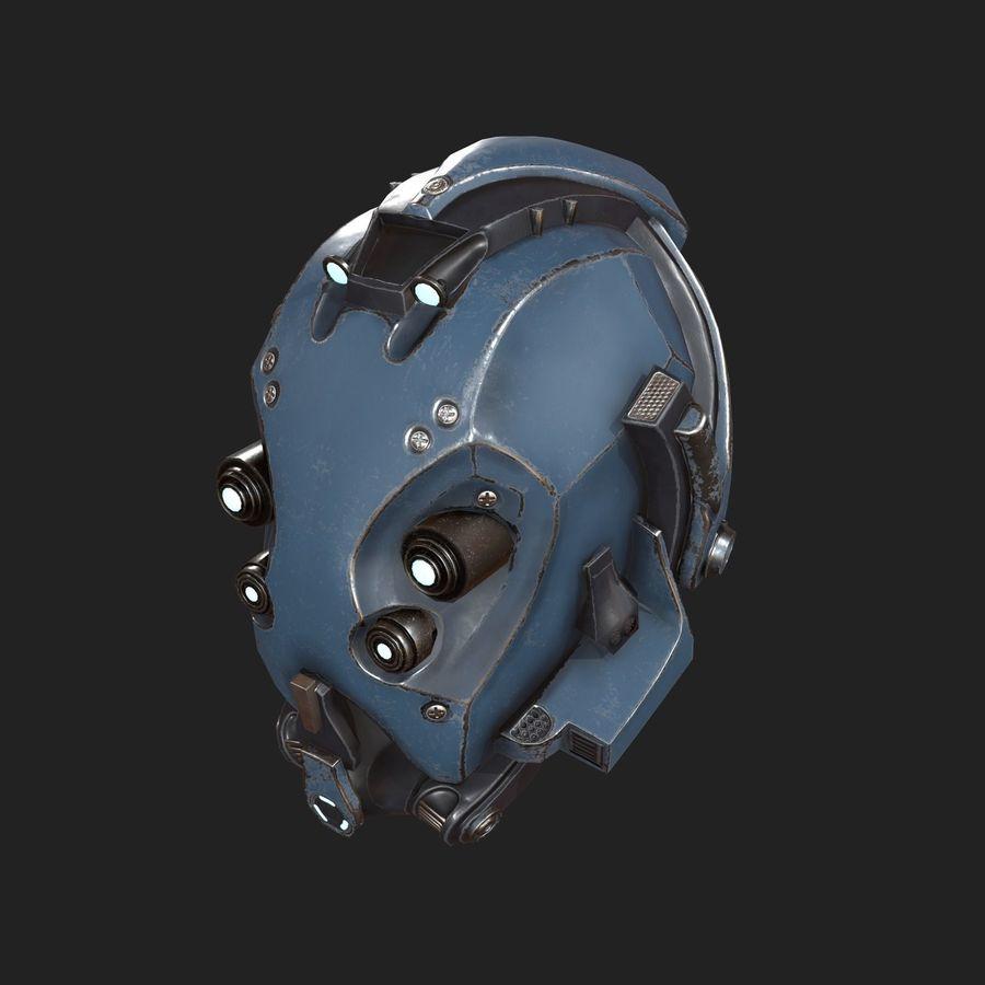 Helmet combat military Scifi royalty-free 3d model - Preview no. 3