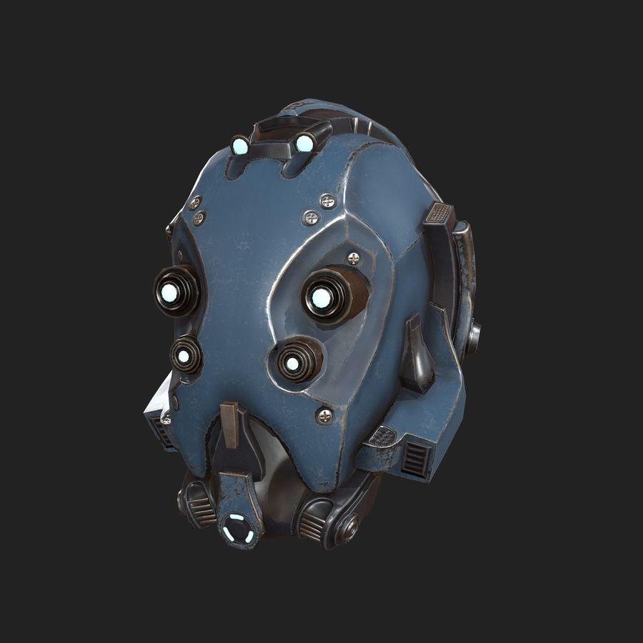 Helmet combat military Scifi royalty-free 3d model - Preview no. 2
