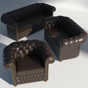 Chesterfield Set Brown 3d model