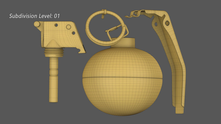 Fragmentation Infantry Hand Grenade M67 royalty-free 3d model - Preview no. 16