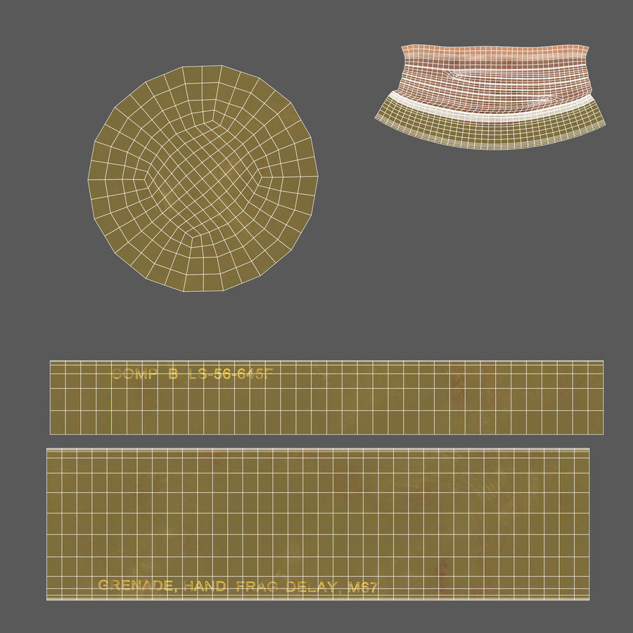 Fragmentation Infantry Hand Grenade M67 royalty-free 3d model - Preview no. 19