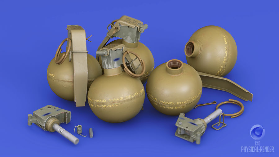 Fragmentation Infantry Hand Grenade M67 royalty-free 3d model - Preview no. 11