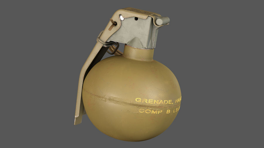 Fragmentation Infantry Hand Grenade M67 royalty-free 3d model - Preview no. 2