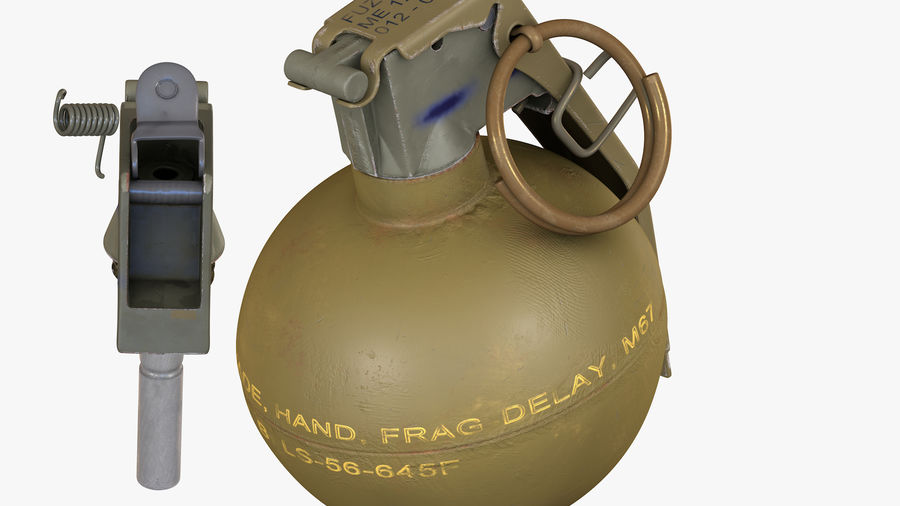 Fragmentation Infantry Hand Grenade M67 royalty-free 3d model - Preview no. 10