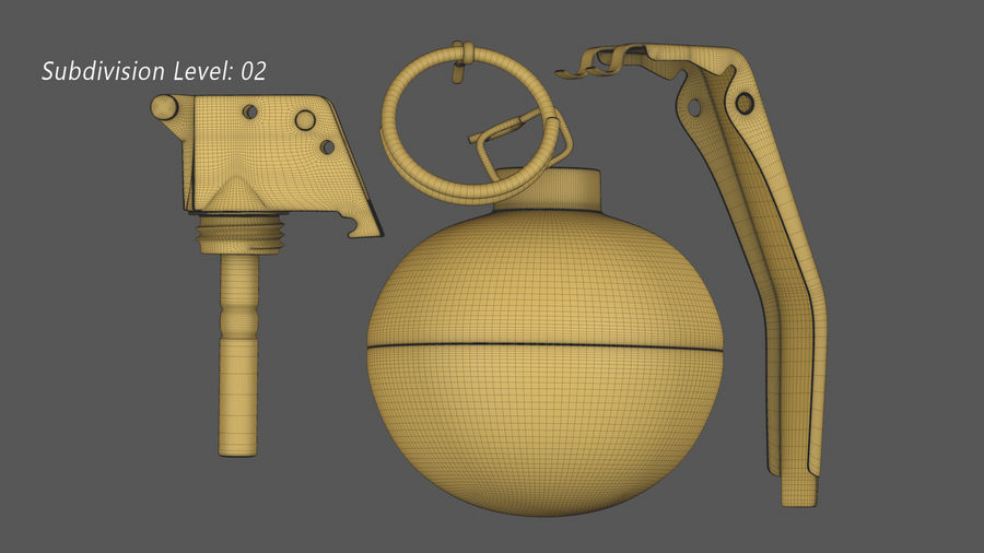 Fragmentation Infantry Hand Grenade M67 royalty-free 3d model - Preview no. 17