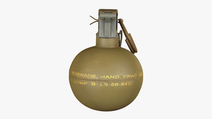 Fragmentation Infantry Hand Grenade M67 royalty-free 3d model - Preview no. 3