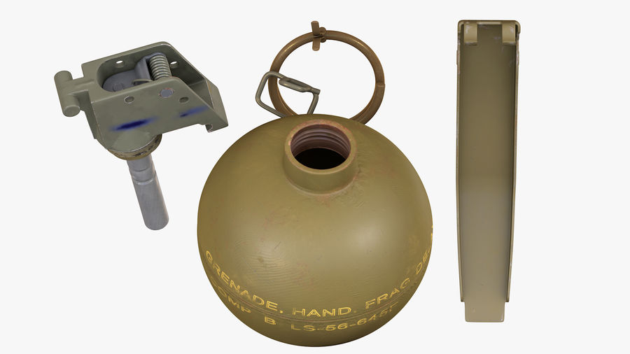 Fragmentation Infantry Hand Grenade M67 royalty-free 3d model - Preview no. 8
