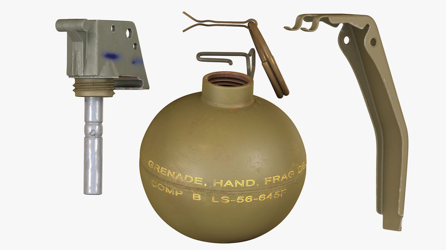 Fragmentation Infantry Hand Grenade M67 royalty-free 3d model - Preview no. 9