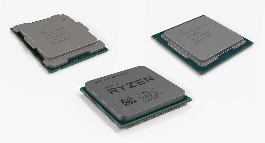 Collection de processeurs Intel et AMD royalty-free 3d model - Preview no. 2
