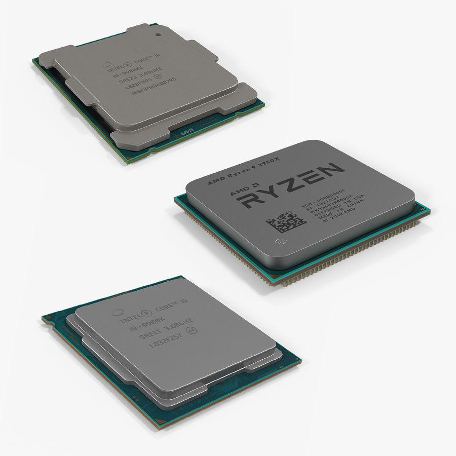 Collection de processeurs Intel et AMD royalty-free 3d model - Preview no. 1
