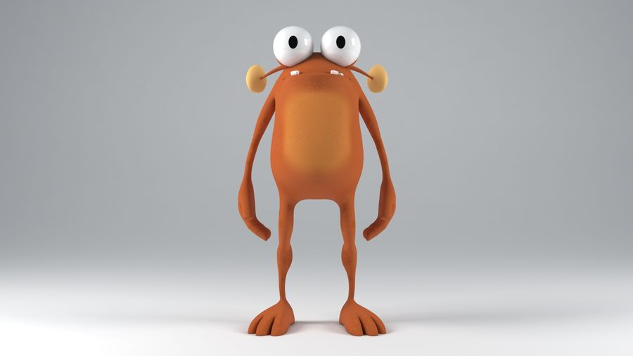 Animal cartoon character royalty-free 3d model - Preview no. 3