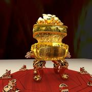 Chinese burner with Yuanbao and toad 3d model