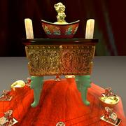 Chinese yuanbao with incense burner 3d model
