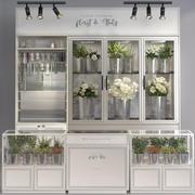 フラワーショップストア花屋棚スーパーディスプレイ 3d model