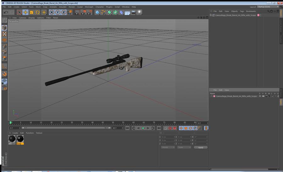 Kapsamlı Kamuflaj Arası Namlu Havalı Tüfek royalty-free 3d model - Preview no. 15