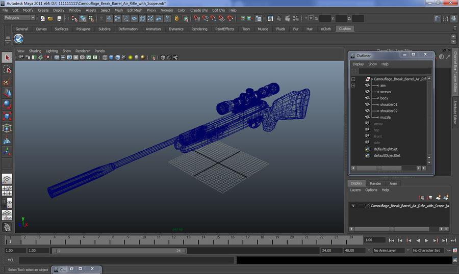 Kapsamlı Kamuflaj Arası Namlu Havalı Tüfek royalty-free 3d model - Preview no. 14