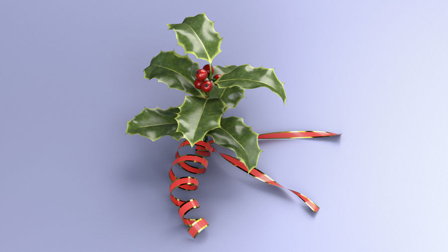 Christmas Holly royalty-free 3d model - Preview no. 2