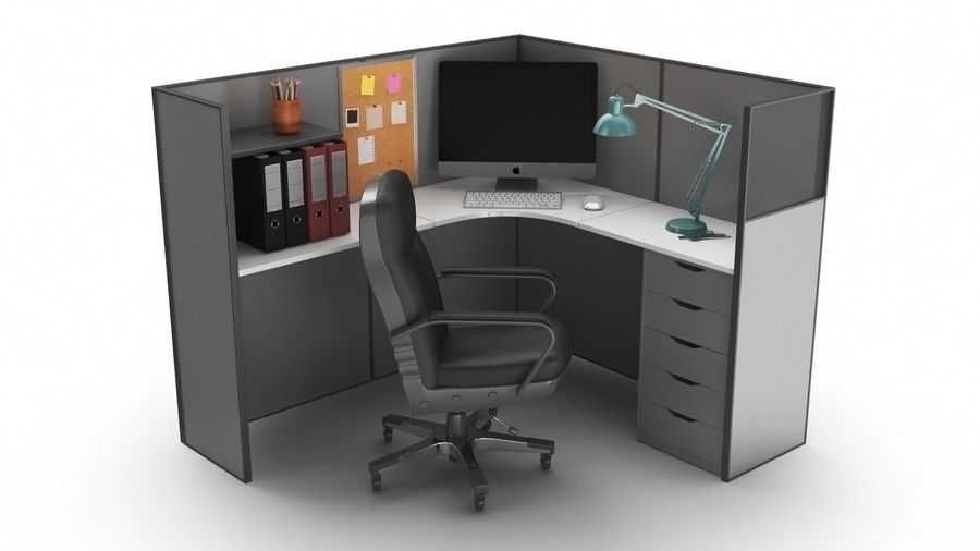 Workstation per cubicoli royalty-free 3d model - Preview no. 2