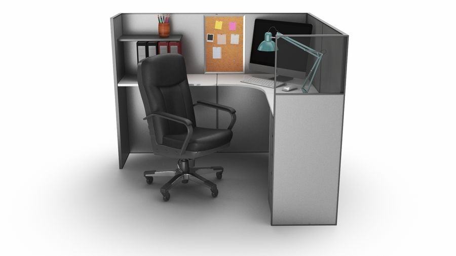 Workstation per cubicoli royalty-free 3d model - Preview no. 11