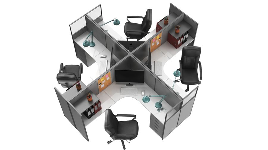 Workstation per cubicoli royalty-free 3d model - Preview no. 14